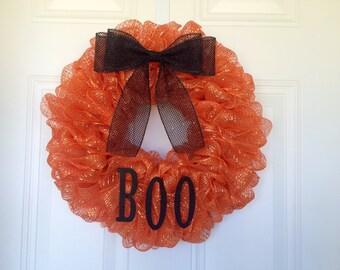 READY TO SHIP: Boo Halloween Wreath, Orange Halloween Wreath