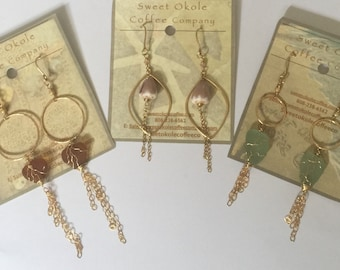 sea glass/shell earrings