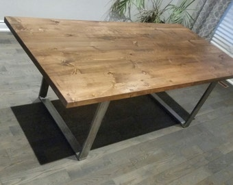 Toronto solid rustic pine dining table with solid steel base