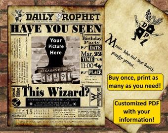 Harry Potter Daily Prophet Birthday Invitation