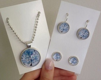 Handmade Silver Necklace and Earring Set