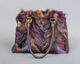 Multicolor Fox Fur Bag, Real Fox Fur Handbag, Shoulder Bag,Clutch, Birkin, Handmade