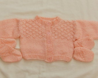 3 Piece Cardigan Set for a Baby Girl Comprising Cardigan Mittens and Bootees Hand Knitted in Peach 4 Ply Yarn