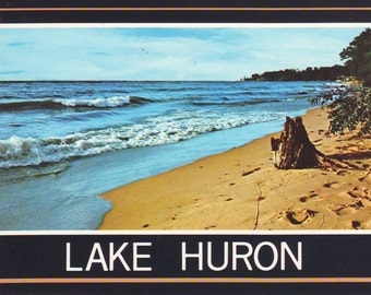 Vintage Lake Huron in Michigan Unused Post Card