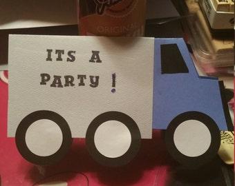Set of ten very cute handmade truck birthday invitations.
