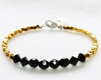 Black Jet and Gold Square Beaded Bracelet