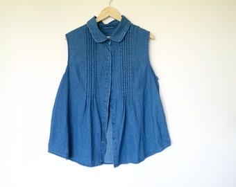 Vintage denim sleeveless shirt top tank top