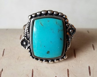 Southwestern style Turquoise Sterling Silver Ring