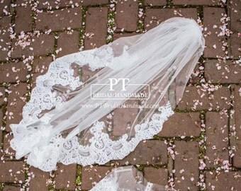 Lace wedding veil, Fingertip Veil with Lace Trim , One Layer Fingertip Veil , Wedding Veil Fingertip , Custom Wedding Veil