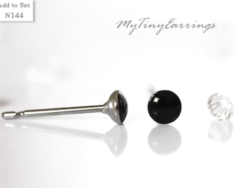 Christmas gift 3mm Black Stud Earrings Waterproof Mini Glossy - Men Jewelry Stainless Steel Posts High Quality Epoxy Resin Simply Black 144