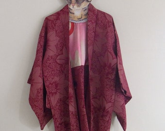 Haori/Kimono Jacket-Burgandy deep red with maple leaves