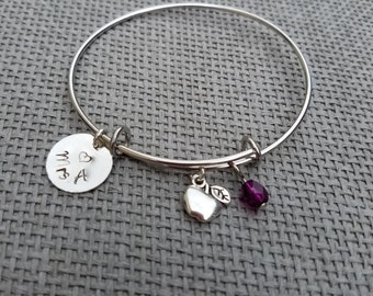 Teacher Appreciation Gift Charm Bracelet Silver Tone, Customized Teacher Bracelet, Personalized Teacher Gift, Teacher's Gift CB123008