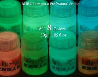 GD084w- Glow Paint- A11 8 Colors 30g*8 (1.05 oz*8),Luminous,Glow in the Dark Luminescent Paint Pigment.(Oily have paint taste).