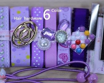 C75004-6 Colors Purple line Print Grosgrain Ribbon Convenience Packs.(28g)DAda ribbon