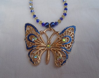 Statement Butterfly Necklace, Butterfly Necklace, Blue Butterfly Necklace, Blue and Gold Butterfly Necklace, Crystal Necklace