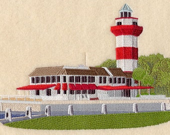 Harbortown Lighthouse Embroidered  on a Flour Sack Towel Hand Towel Dish Towel