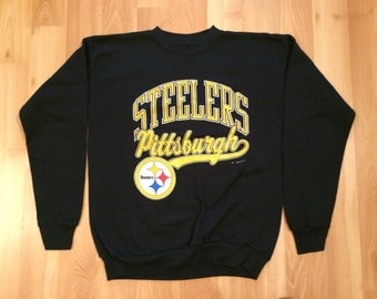 Large 1990 NFL Pittsburgh Steelers vintage creneck sweatshirt black yellow gold Tultex very rare 90's