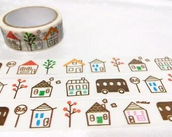 cute house Washi tape tape 5M hand drawing house little house masking tape wooden hut village house housewarming decor sticker tape