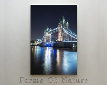 Tower Bridge canvas print, London, UK,Lighttrails,night photography,long exposure,city lights, FineArt Photograph,Canvas Wall Art,Wall Decor