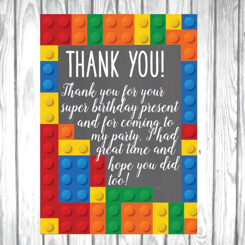 Lego thank you card Lego thank you Boy birthday by Kompostela
