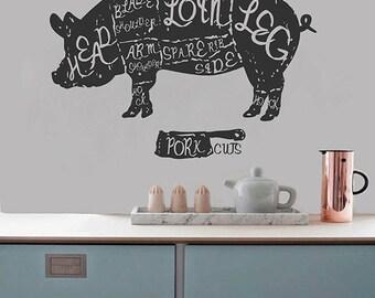 kik2844 Wall Decal Sticker pig pork butchering meat kitchen restaurant shop