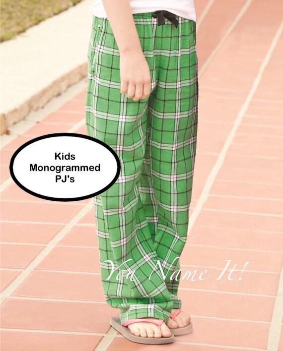 Monogrammed Pajama Pants, Kids