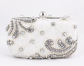 Handmade white antique clutch