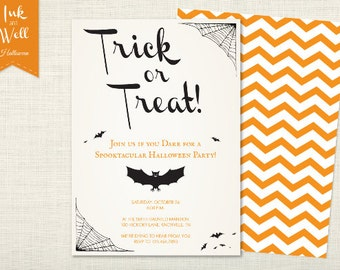 Trick or Treat Halloween Invitation - Bat, Spider Web, Chevron, Orange, Black, Editable Text, DIY, Printable Invite,  Digital File