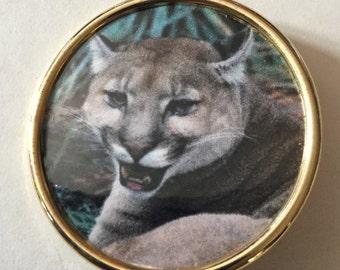 Puma Cougar Wild Cat Button Signed Phil Linley Studio vintage