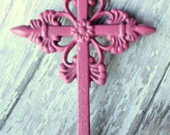 Pink Cast Iron Wall Cross