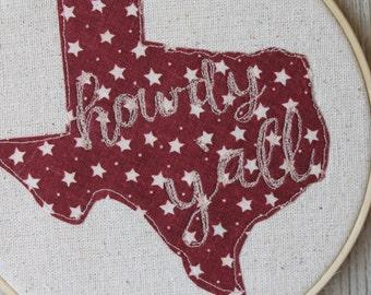 "Howdy Y'all Texas Hoop Art Embroidery Wall Decor, 6"" Hoop, Maroon Stars Texan Rustic Freehand Machine Embroidery"