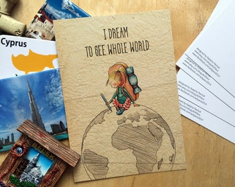 Postcard I dream to see whole world, Hand drawn watercolor, illustration digital print, For Postcrossing