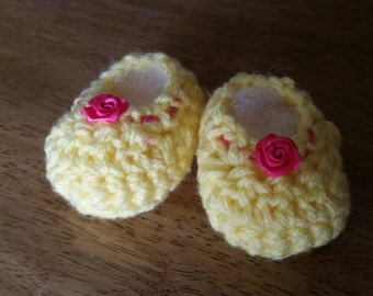 Baby Booties with Roses and Pink Trim