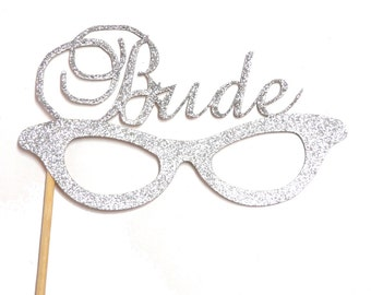 Photo Booth Props - Silver Glitter Bride Glasses - Wedding Photo Booth Props