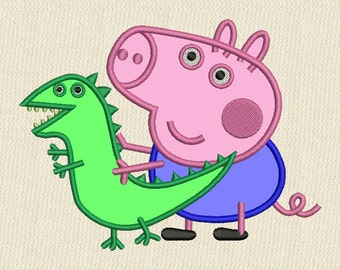 George Pig Applique Embroidery Design 4 sizes