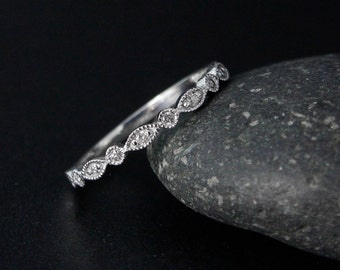White Gold Diamond Wedding Band - Milgrain Band - Leaf & Round Shape