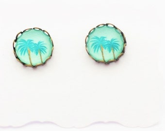 Handmade Palm Tree Bohemian Boho Holiday Summer Stud Earrings