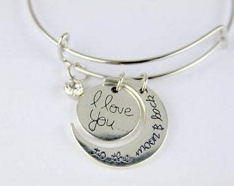 I Love You to the Moon and Back Bangle Silver Colored