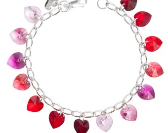 Reds Simple Hearts Sterling Silver & SWAROVSKI crystal Charm Bracelet