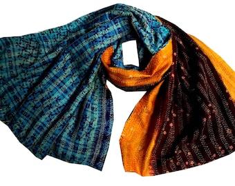 Gorgeous vintage Indian silk kantha scarf, Silk Kantha Scarf made of 100% Silk fabric, kantha stole,multi color reversible dupatta,