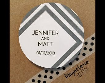 Gray Chevron Save the Date Magnets, 2.25 inches round