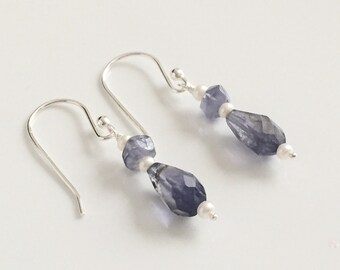 Faceted Iolite and Pearl Sterling Silver Earrings
