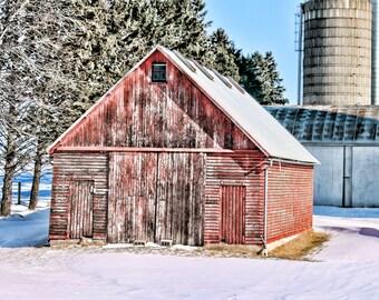 Rustic Red Country Corn Crib Digital Image