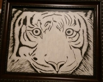 Scratchboard white tiger