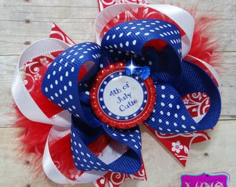4th of july hair bow, independence day bow,red white and blue hair bow, memorial day bow