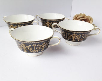 Wedgwood China Soup Bowl Set / Black and Gold Wedgwood / Wedgwood Soup Bowls / China Soup Bowls / Bone china Bowls / Wedgewood China