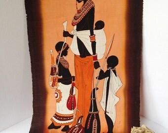 African Hand-painted Cloth Art / African Art Vintage Batik Painting / African Art / Hand-painted African Art / African Woman
