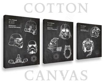 Canvas, Star Wars Helmets Set of 3 Prints, Canvas Wall Art, Canvas Print, Star Wars Canvas, Star Wars Canvas Art, Darth Vader Canvas