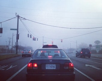 Driving Suburbia Landscape Photograph Fog Taillights 9 to 5 Photo Solemn Apathy Image
