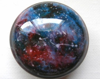 Custom, One of a Kind, handmade furniture/cabinet knobs Teal Red Galaxy